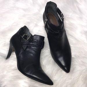 Donald J. Pliner Black Tamy Leather Buckle Booties